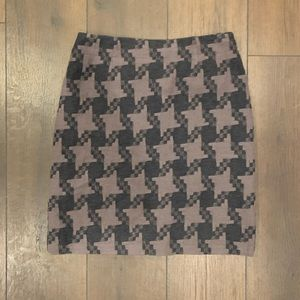 Boden Wool Jacquard Houndstooth Gray Skirt Sz 6